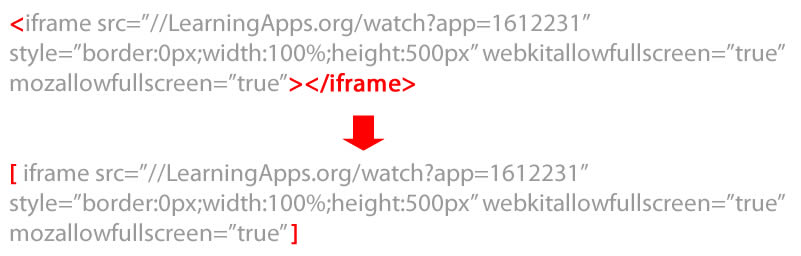 shortcode iframe exemple